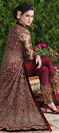 452059: Red and Maroon color family unstitched Party Wear Salwar Kameez .