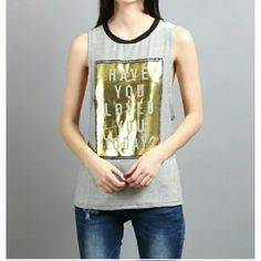 Gold Foil Muscle Tank Gold foil graphic tank top. True to size. Made in the USA. Boutique Tops Tank Tops