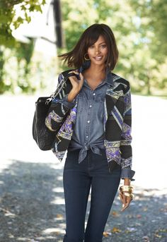 Style Cue: A paisley-patterned jacket looks winning with casually chic chambray. #SoSlimming #WildAbout30 #chicos