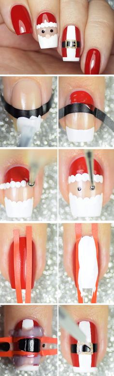 Santa + Santa Suit | Awesome Christmas Nail Designs 2017