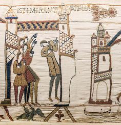 Boatful of Stargazers: Bayeaux Tapestry, France, Detail showing passage of Halley's Comet