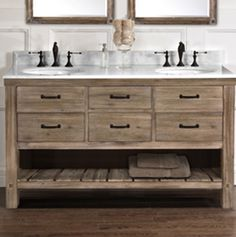A Sonoma Sand finish gives the Napa vanities their special organic feel. It's a look that reflects the subdued grace of the California wine country. Various sizes and drawer/door combos allow the versatile units to slip into almost any style or space requirement. A farmhouse vanity provides the final authentic touch to this inspiring transitional …