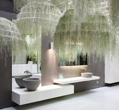 Tillandsia Usneoides (spanish hanging moss) domes by Patrick Nadeau for the Boffi bath display at the London Design Festival. And maybe something like this at my wedding :) Air Plants, Indoor Plants, Indoor Herbs, Cactus Plants, Real Plants, Indoor Gardening, Tillandsia Usneoides, Relaxing Bathroom, Air Plant Display