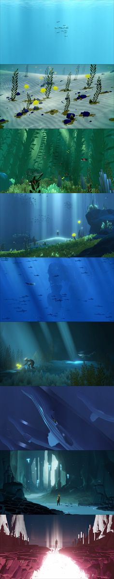 Stills from the ABZÛ trailer<--- Ahora, these are just slits but when one plays it. They'll be amazed how beautiful it is