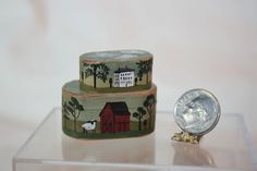 Miniature Dollhouse Bearly Big Enough Handpainted Wood Stacking Shaker Box Pair #BearlyBigEnough
