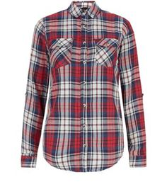 Red and Blue Long Sleeve Check Shirt
