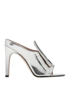 Printed leather Laminated effect Metal applications Solid color Square toeline Geometric heel Leather lining Leather sole Contains non-textile parts of animal origin Sergio Rossi, Silver Outfits, Metallica, Bag Accessories, Heeled Mules, Kitten Heels, Shoes Sandals, Footwear, Textiles