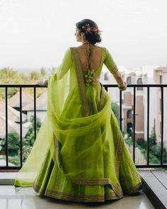This parrot green lehenga is perfect Mehendi Outfits, Indian Bridal Outfits, Indian Designer Outfits, Wedding Outfits, Indian Lehenga, Green Lehenga, Lehenga Choli Designs, Designer Bridal Lehenga, Lehnga Dress