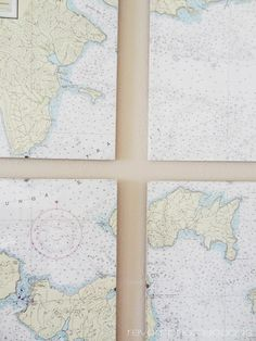 DIY nautical chart art. We have a cool Outer Banks map like this. I might need to mount it on a canvas.