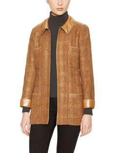 Camel Gold Trim Long Jacket from The Cool Girl's Guide to Vintage Chanel on Gilt