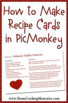 Recipe Index Card Template Lovely How to Make Recipe Cards In Picmonkey Home Cooking Memories Toffee Cookie Recipe, Toffee Cookies, Family Recipe Book, Family Recipes, Diy Recipe Book, Homemade Recipe Books, Recipe Tips, Recipe Recipe, Printable Recipe Cards