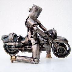 Motorcycle rider metal art sculpture Metal Workshop, Used Engines, Metal Art Sculpture, The Fragile, Modern Contemporary, Carving, Artwork, 10 Days, Perfect Wedding