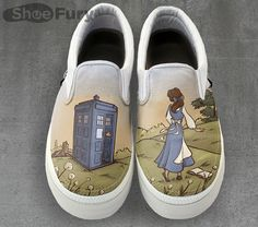What if Beauty never met the Beast because she was exploring all of time and space with the Doctor? It's a possibility explored on these cool Adventure Awaits Shoes.  Artist Karen Hallion wants to decorate your feet, and she's making it hard to resist the idea by mashing together Dis