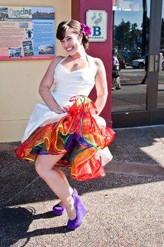 Muppets, Movies & Rainbows: Melanie & Michael · Rock n Roll Bride Rainbow Wedding Dress, Colored Wedding Dresses, Wedding Colors, Wedding Art, Dream Wedding, Wedding Ideas, Wedding Rustic, Wedding Vows, Rave Wedding