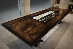 Unique dining and conference room tables made from wood, metal and special finishes customized to fit your needs. Custom Tables, Bath Caddy, Conference Room, Dining Table, Wood, Creative, Design, Woodwind Instrument, Dinner Table