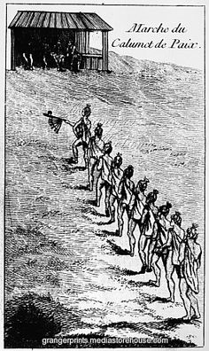 PEACE PIPE CEREMONY, 1718. Chitimacha Native Americans in Louisiana on their way to take part in the calumet ceremony upon the conclusion of peace with the French in 1718. Copper engraving, French, 1758, after a drawing by Antoine Simon Le Page du Pratz.