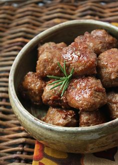 Bourbon & Cider Glazed Turkey Meatballs: Approximate nutrition info. for 3 meatballs (Paleo): 200 calories, 7g fat, 7g net carbs, 14 g protein. (To lower carbs even more replace the 1 1/2 cups of cider in the glaze with 1 cup of cider, 1/2 cup of water, and 1 Tbl of sweetener - plus the bourbon and rosemary.)