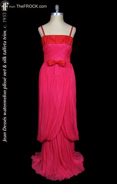 Vintage Jean Dessés watermelon plissé gown with red silk taffeta trim; 1950s french couture dress. (The garment is from our vintage couture collection at TheFROCK.com, though it is no longer available.)