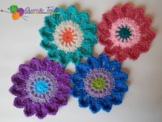 "How to Crochet the ""Flower Power Valance"".Video 1 of 2 Crochet Bunny Pattern, Crochet Mandala Pattern, Crotchet Patterns, Diy Crochet Flowers, Crochet Flower Tutorial, Crochet Buttons, Crochet Yarn, Japanese Flowers, Half Japanese"