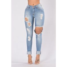 Glistening Jeans Medium Wash ($35) ❤ liked on Polyvore featuring jeans, distressing jeans, destructed jeans, high waisted ripped jeans, blue jeans and torn jeans