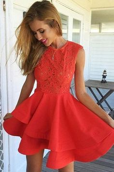 A-Line Jewel Short Red Satin Homecoming Dress with Lace Ruffles -Pgmdress