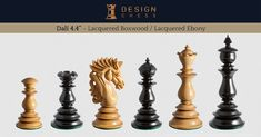 Dalí Luxury Chess Pieces in Lacquered Ebony / Padauk / Boxwood