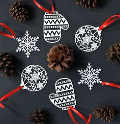 Christmas Tree Laser Paper Cut Baubles Set Of Six