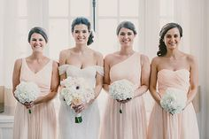 #Bridesmaids, #bridemaidsbouquets #peach, #hydrangeas, Photo from Cameron + Fabio collection by Paige Jones