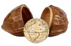 Carl Johann Sigmund Bauer (1780-1857), German / German miniature terrestrial pocket globe, in walnut shape case, 1.25 inch globe, early 19th century, Nuremburg [Germany]