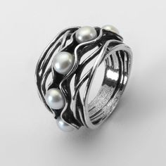 R01284SP SHABLOOL ISRAEL Didae FW Pearl 925 Sterling Silver Ring Sz. 6 7 8 9 #Shablool #Band