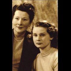 Audrey Hepburn with her mother