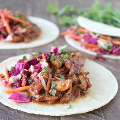 Slow Cooked Korean BBQ Chicken Tacos