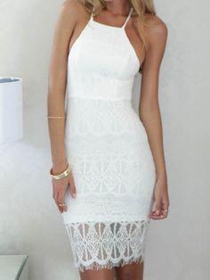 Halter Backless Sheer Lace Hem Bodycon Dress