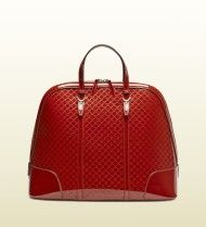Gucci Patent Leather Top Handle Bag in Red