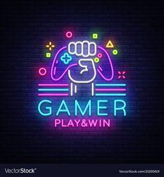 Game night logo in neon style, gamepad in hand, modern trend design, light banner, bright nightlife advertisement. Game Logo Design, Vector Logo Design, Logo Design Template, Logo Templates, Video Game Art, Video Game Rooms, Photoshop Design, Neon Design, Design Art