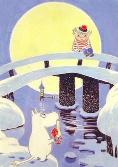 Moomin and his friend Too-Ticky (Trois Pommes in French). A very nice illustration! Moomin Books, Moomin Valley, Tove Jansson, Georges Braque, Children's Book Illustration, The Crow, Childrens Books, Fairy Tales, Books
