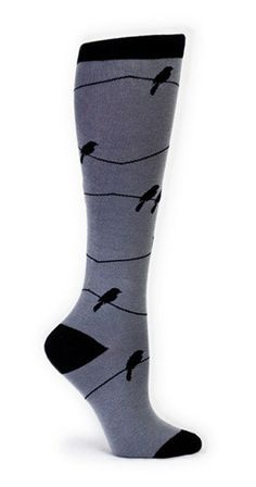 SOMEONE BOUGHT THESE FOR ME! Thank you kind stranger! #birthdaywishescometrue Grey knee high socks with black crows sitting on a wire.