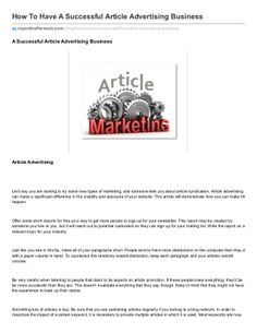 How to have a successful article advertising business by ErickEsmenjaud via slideshare
