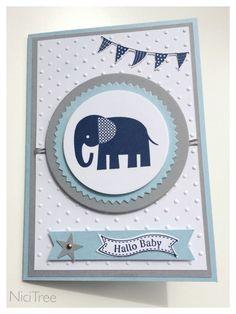 Karte zur Geburt, Stampin Up!, Zoo Babies, Itty Bitty Banners,
