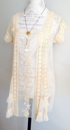Sheer Tambour Bohemian Lace tunic Hippie Gypsy