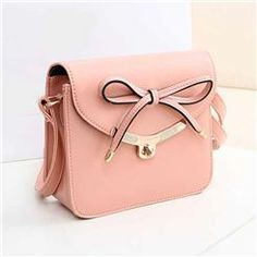 Candy Color Leisure Sweet Bowknot Design Lady's Cross Body Bags