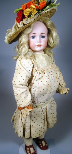 """A/O K*R Mein Liebling Kammer Reinhardt 117 Antique Doll The """"fattest"""" K*R I've ever seen!  what does she have under her dress?  a pillow???? :)  she looks worried, like she knows she's got to lose weight, lol"""