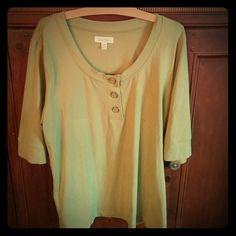 Calvin Klein extra large Light green shirt Scoop neck three buttons three-quarter sleeve Calvin Klein Tops Blouses