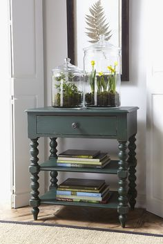 Green port Night Table in hand painted forest green.