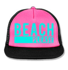 a917b8aab55 BEACH PLEASE Pink Trucker Hat with Aqua Print by NoBull Woman