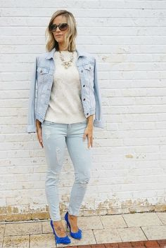 blue suede shoes | my kind of sweet | spring style inspiration | how to wear denim on denim
