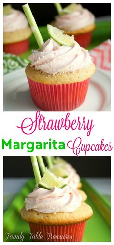 Fresh strawberry cupcakes soaked with a lime, tequila simple syrup and then topped with a fresh strawberry and tequila cream cheese frosting. These Strawberry Margarita Cupcakes are the perfect treat for your next adult summer fiesta! Alcoholic Cupcakes, Alcoholic Desserts, Strawberry Margarita Cupcakes, Tequila Cupcakes, Liquor Cupcakes, Cocktail Cupcakes, Gourmet Cupcakes, Wedding Cakes With Cupcakes, Cupcake Cakes