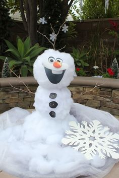 Frozen Birthday Party Idea cotton snowman