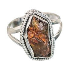 Rough Citrine 925 Sterling Silver Ring Size 8.25 RING757257