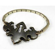 Steampunk Bohemian Chic Bracelet, Antique Escutcheon Keyhole Bracelet... ($69) ❤ liked on Polyvore featuring jewelry, bracelets, steampunk, victorian locket, locket charm bracelet, gold filled charm bracelet, antique victorian locket and antique vintage lockets
